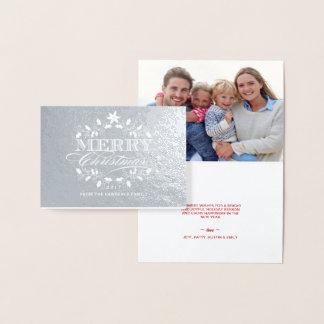 Cartão Metalizado Grinalda elegante do azevinho do vintage do Feliz
