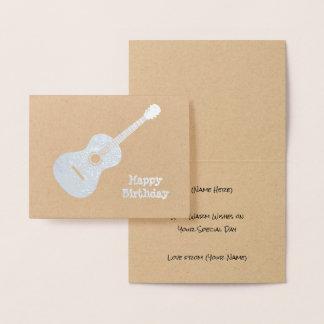 Cartão Metalizado Guitarra elegante - motivo da prata ou do ouro