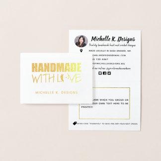 Cartão Metalizado Handmade com nota Handmade da informação da loja