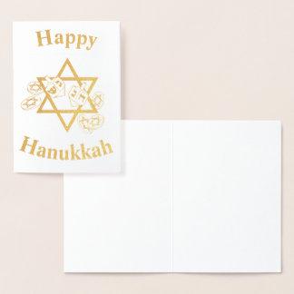 Cartão Metalizado Hannukah feliz