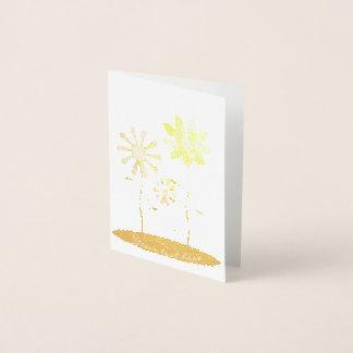 Cartão Metalizado Impressão lunático da folha de ouro das flores