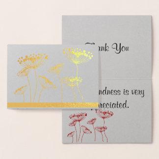 """Cartão Metalizado Laço """"obrigado da rainha Anne você """""""