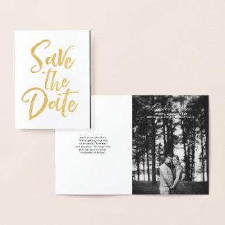 Cartão Metalizado Letras da escova que Wedding economias a foto da