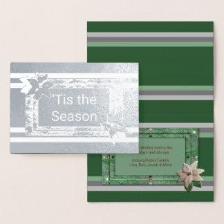 Cartão Metalizado Listras da poinsétia da salsa