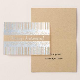 Cartão Metalizado Listras de prata e ondas laçado