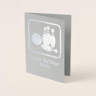 Cartão Metalizado Logotipo dos pinos de boliche com próprios foto e