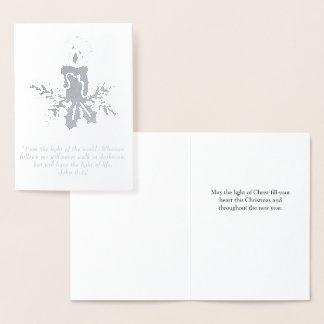 Cartão Metalizado Luz cristã do Natal do cristo