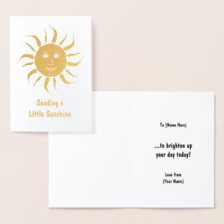 Cartão Metalizado Luz do sol dourada - motivo de sorriso de Sun no