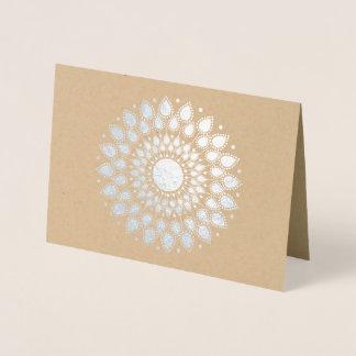 Cartão Metalizado Mandala de Lotus da folha de prata