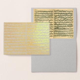 Cartão Metalizado Manuscrito dourado da música de Bach Chaconne toda