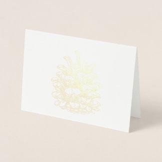 Cartão Metalizado Merry Christmas ouros Pine Cone