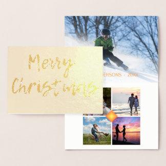 Cartão Metalizado Modelo da colagem da foto do Feliz Natal 5