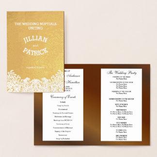 Cartão Metalizado Modelo do programa do casamento da noz do damasco
