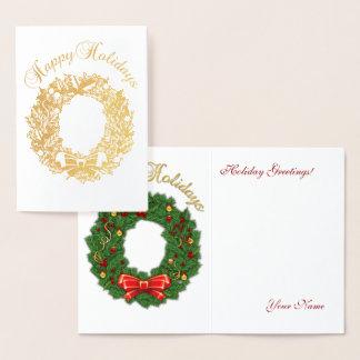 Cartão Metalizado Monograma da folha de ouro boas festas & grinalda