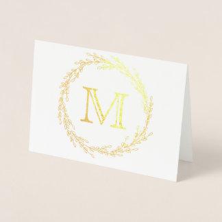 Cartão Metalizado Monograma da grinalda da folha de ouro