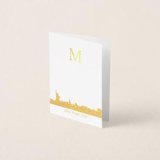 Cartão Metalizado Monograma da skyline da Nova Iorque
