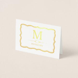 Cartão Metalizado Monograma elegante do ouro