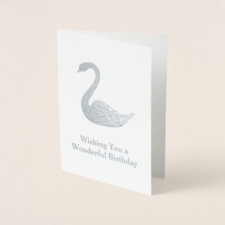 Cartão Metalizado Motivo da cisne da tira - seu texto em um elegante