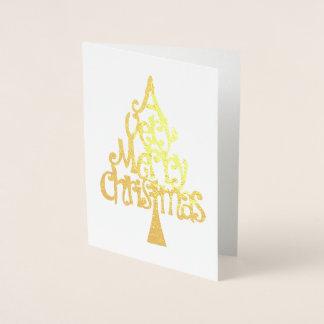 Cartão Metalizado Muito uma tipografia da árvore do ouro do Feliz