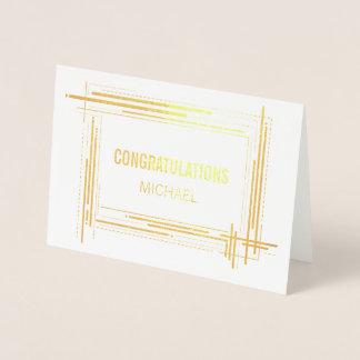 Cartão Metalizado Na moda moderno dos parabéns gerais