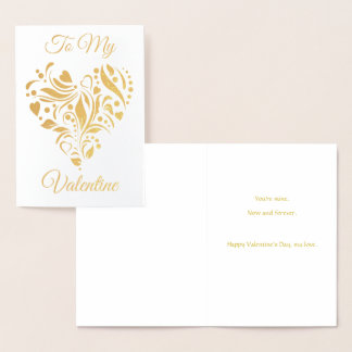 Cartão Metalizado Namorados decorados do coração