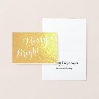 Cartão Metalizado Natal alegre e brilhante do ouro