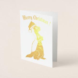 Cartão Metalizado Natal do texugo de mel
