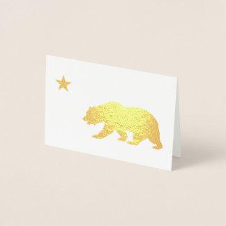 Cartão Metalizado Natal dourado de Califórnia