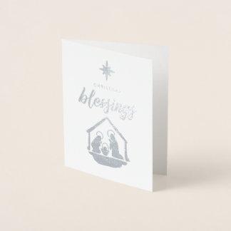 Cartão Metalizado Natal que abençoa a folha religiosa da natividade