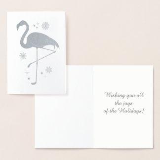 Cartão Metalizado Natal tropical com flamingo