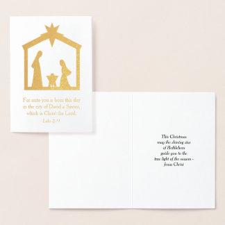 Cartão Metalizado Natividade Jesus religioso cristão do Natal