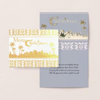 Cartão Metalizado Natividade santamente religiosa do Natal de