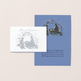 Cartão Metalizado Natividade santamente religiosa do Natal de Jesus