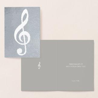 Cartão Metalizado nota musical/clef de triplo na prata