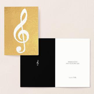 Cartão Metalizado nota musical/clef de triplo no ouro