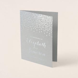 Cartão Metalizado O confete moderno da folha de prata pontilha o