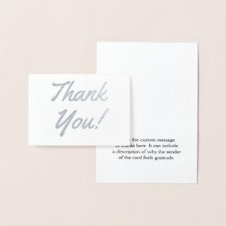 """Cartão Metalizado O costume, elegante & personalizou o """"obrigado"""