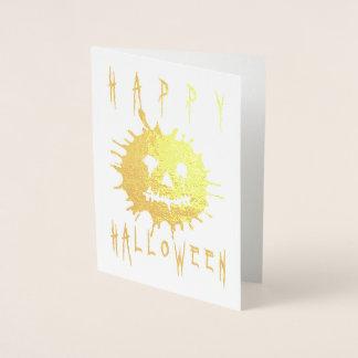 Cartão Metalizado O Dia das Bruxas feliz Splatolatern