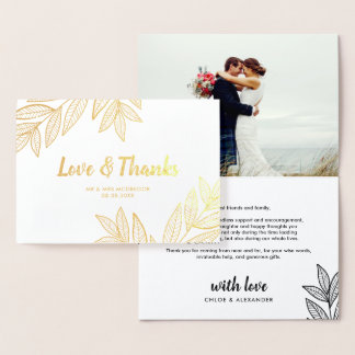 Cartão Metalizado O ouro sae do amor & dos obrigados que Wedding a