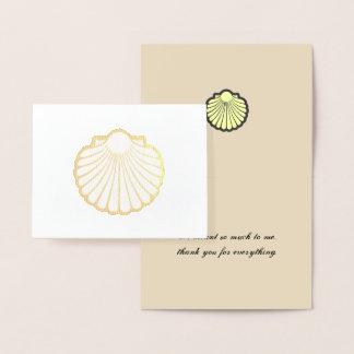 Cartão Metalizado O Scallop Shell dourado agradece-lhe