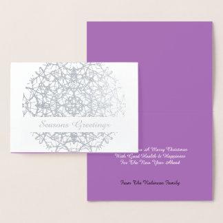 Cartão Metalizado O Xmas laçado bonito do círculo da flor tempera
