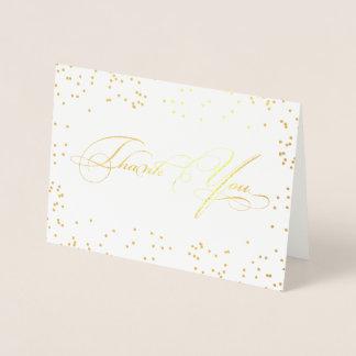 Cartão Metalizado Obrigado à moda elegante do roteiro da caligrafia