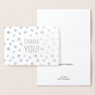 Cartão Metalizado Obrigado a prata animal dos impressões da pata de