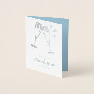Cartão Metalizado Obrigado azul elegante do casamento da folha de