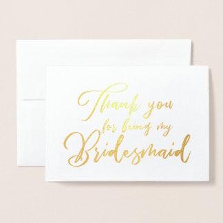 Cartão Metalizado Obrigado bonito do casamento da dama de honra você