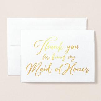 Cartão Metalizado Obrigado bonito do casamento da madrinha de