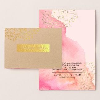Cartão Metalizado Obrigado botânico do casamento da folha de ouro de