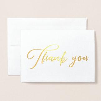Cartão Metalizado Obrigado chique bonito da caligrafia você