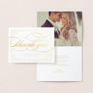Cartão Metalizado Obrigado chique clássico do casamento do quadro