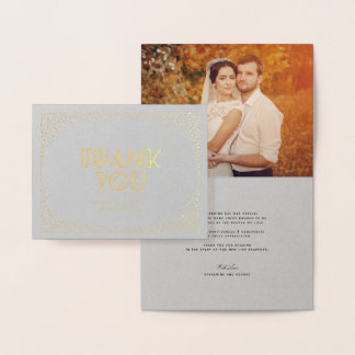 Cartão Metalizado Obrigado chique do casamento do art deco do quadro